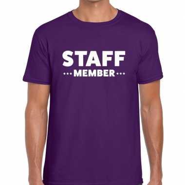 Personeel t-shirt paars met staff member bedrukking voor heren