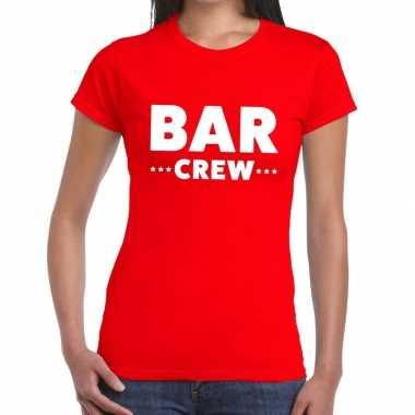 Personeel t-shirt rood met bar crew bedrukking voor dames