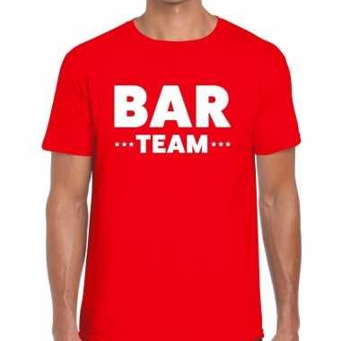Personeel t-shirt rood met bar team bedrukking voor heren