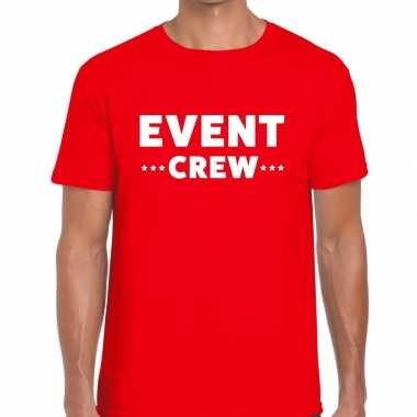 Personeel t-shirt rood met event crew bedrukking voor heren