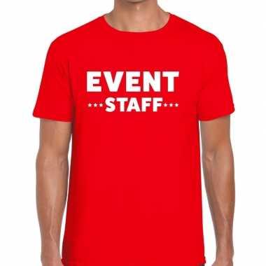 Personeel t-shirt rood met event staff bedrukking voor heren