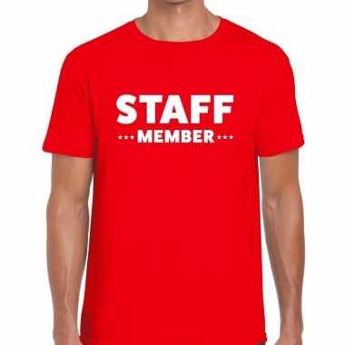 Personeel t-shirt rood met staff member bedrukking voor heren