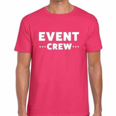 Personeel t-shirt roze met event crew bedrukking voor heren