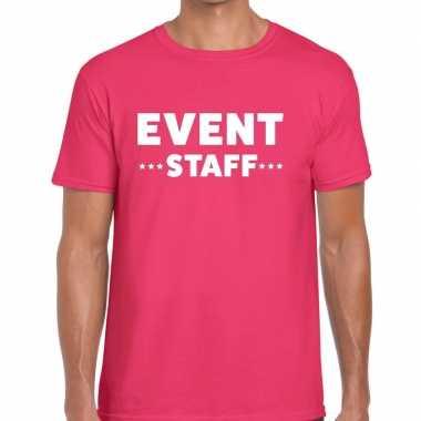 Personeel t-shirt roze met event staff bedrukking voor heren