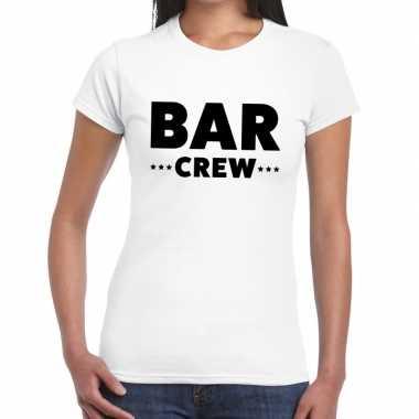 Personeel t-shirt wit met bar crew bedrukking voor dames