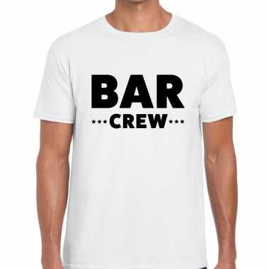 Personeel t-shirt wit met bar crew bedrukking voor heren