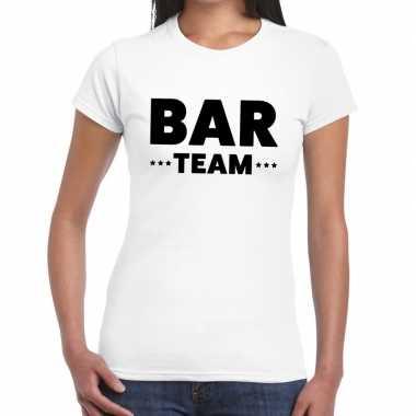 Personeel t-shirt wit met bar team bedrukking voor dames
