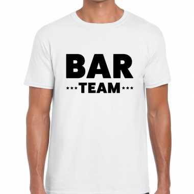 Personeel t-shirt wit met bar team bedrukking voor heren