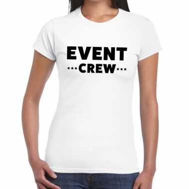 Personeel t-shirt wit met event crew bedrukking voor dames