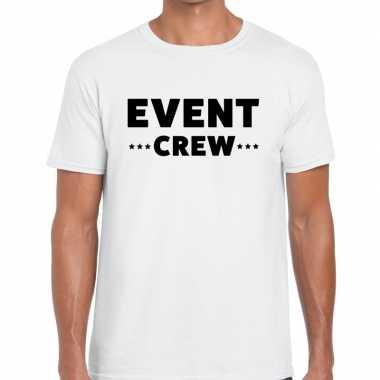 Personeel t-shirt wit met event crew bedrukking voor heren