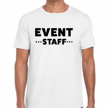 Personeel t-shirt wit met event staff bedrukking voor heren