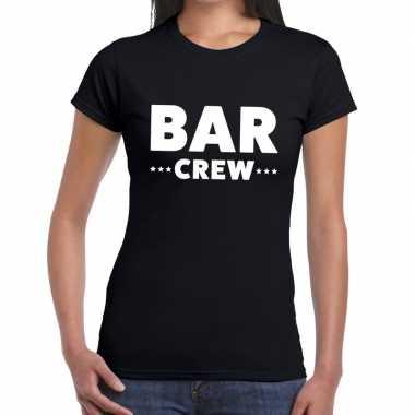 Personeel t-shirt zwart met bar crew bedrukking voor dames