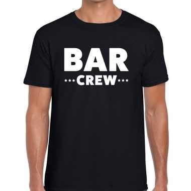 Personeel t-shirt zwart met bar crew bedrukking voor heren