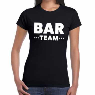 Personeel t-shirt zwart met bar team bedrukking voor dames