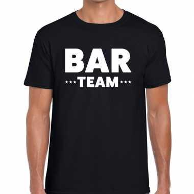 Personeel t-shirt zwart met bar team bedrukking voor heren