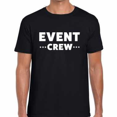 Personeel t-shirt zwart met event crew bedrukking voor heren