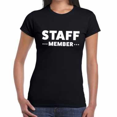 Personeel t-shirt zwart met staff member bedrukking voor dames