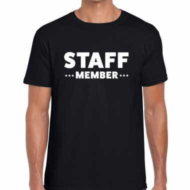 Personeel t-shirt zwart met staff member bedrukking voor heren