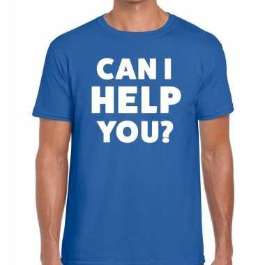 Personeel tekst t-shirt blauw met can i help you? bedrukking voor her