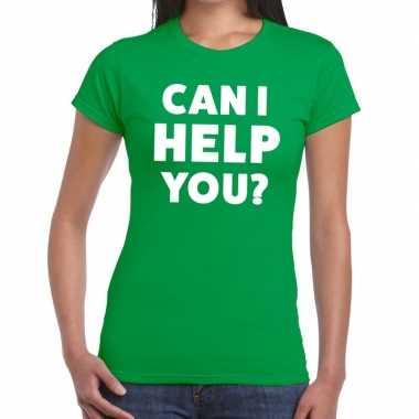 Personeel tekst t-shirt groen met can i help you? bedrukking voor dam