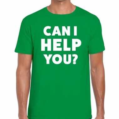 Personeel tekst t-shirt groen met can i help you? bedrukking voor her