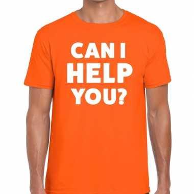 Personeel tekst t-shirt oranje met can i help you? bedrukking voor he