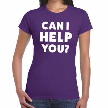 Personeel tekst t-shirt paars met can i help you? bedrukking voor dam