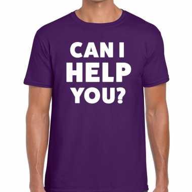 Personeel tekst t-shirt paars met can i help you? bedrukking voor her