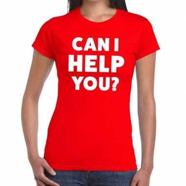 Personeel tekst t-shirt rood met can i help you? bedrukking voor dame
