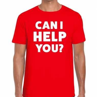 Personeel tekst t-shirt rood met can i help you? bedrukking voor here
