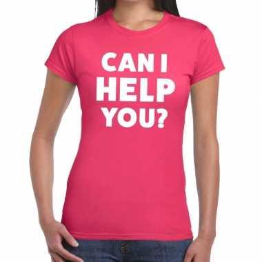 Personeel tekst t-shirt roze met can i help you? bedrukking voor dame