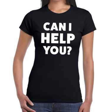 Personeel tekst t-shirt zwart met can i help you? bedrukking voor dam