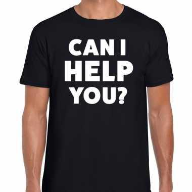 Personeel tekst t-shirt zwart met can i help you? bedrukking voor her