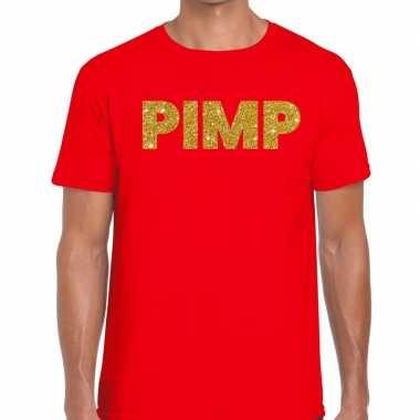 Pimp fun t-shirt rood voor heren