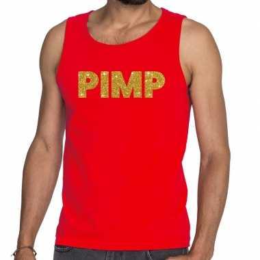 Pimp fun tanktop / mouwloos shirt rood voor heren