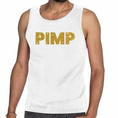 Pimp fun tanktop / mouwloos shirt wit voor heren