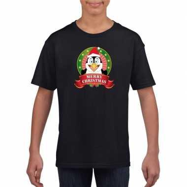 Pinguin kerstmis shirt zwart voor jongens en meisjes