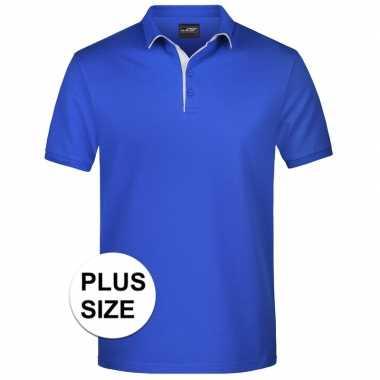 Plus size blauwe premium poloshirt golf pro voor heren
