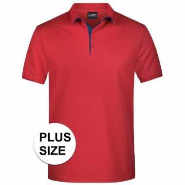 Plus size rode premium poloshirt golf pro voor heren