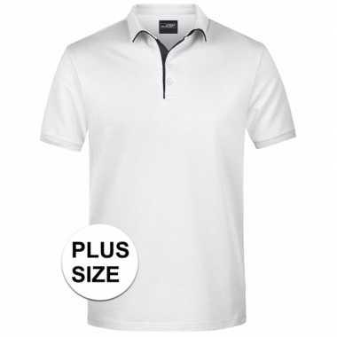 Plus size witte premium poloshirt golf pro voor heren