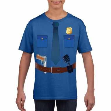 Politie verkleedkleding t-shirt blauw voor kinderen