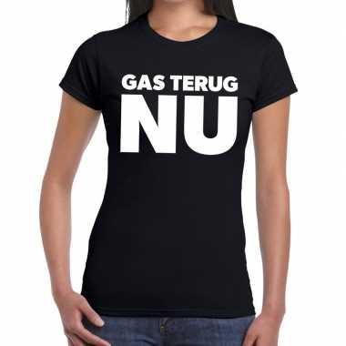 Protest t-shirt gas terug nu groningen zwart voor dames