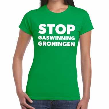 Protest t-shirt stop gaswinning groningen groen voor dames