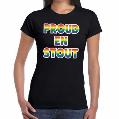 Proud en stout gaypride tekst/fun shirt zwart dames