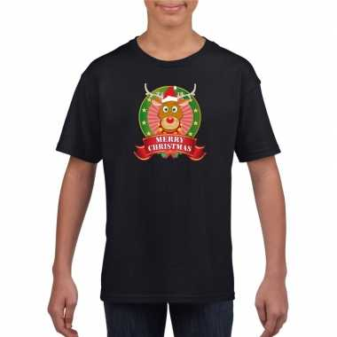 Rendier kerstmis shirt zwart voor jongens en meisjes