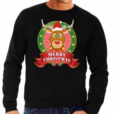 Rendieren kersttrui zwart merry christmas heren