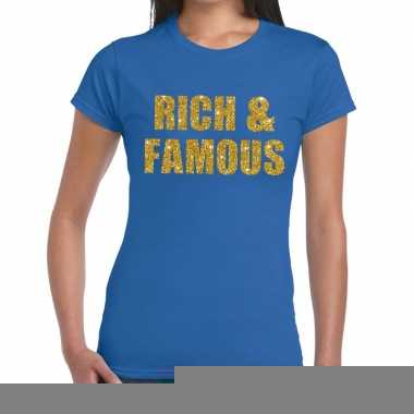 Rich and famous fun t-shirt blauw voor dames