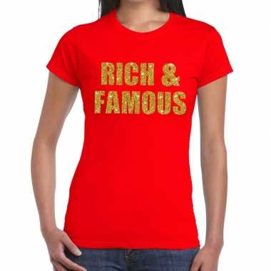 Rich and famous fun t-shirt rood voor dames
