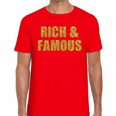 Rich and famous fun t-shirt rood voor heren