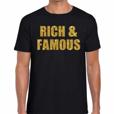 Rich and famous fun t-shirt zwart voor heren